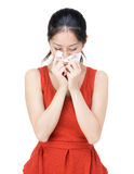Woman sneeze Stock Image