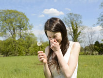 Woman sneezes on meadow Stock Images