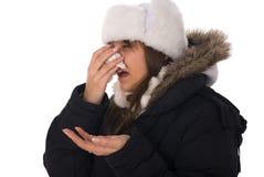 Woman sneezing Royalty Free Stock Photos
