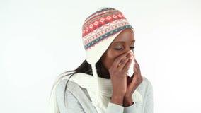Woman sneezing stock video