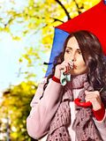 Woman sneezing handkerchief outdoor. Royalty Free Stock Images