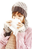 Woman Sneezing. Winter style Stock Photo