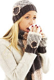 Woman Sneezing. Winter style Royalty Free Stock Photography