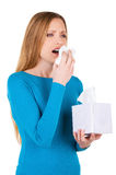 Woman sneezing. Stock Images