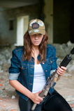 Woman with a sniper rifle Royalty Free Stock Photography