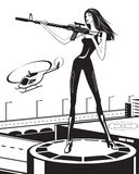 Woman with a sniper rifle and helicopter Stock Photos