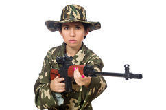 Woman with sniper weapon on white Stock Image