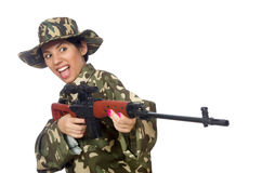 Woman with sniper weapong isolated on white Royalty Free Stock Images