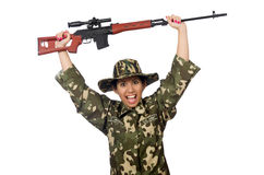 Woman with sniper weapong isolated on white Royalty Free Stock Photo