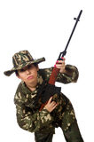 Woman with sniper weapong isolated on white Stock Photos