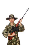 The woman with sniper weapong isolated on white Stock Image
