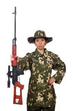Woman with sniper weapong on white Royalty Free Stock Photos