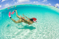Woman snorkel christmas holiday Stock Photo