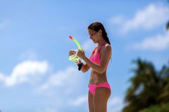 A woman with a snorkel mask Royalty Free Stock Photos