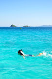 Woman with snorkel on ocean Royalty Free Stock Photography