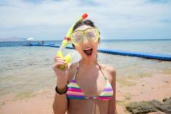 Woman in snorkel Stock Image
