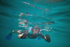 Woman snorkeling Stock Photography