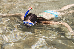 A woman snorkeling Royalty Free Stock Image