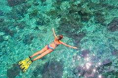 Woman snorkeling in clear tropical waters above coral reef Royalty Free Stock Images