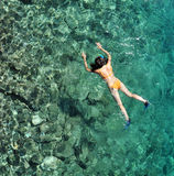 Woman snorkeling in Costa Rica Royalty Free Stock Photography