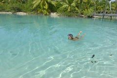 Woman snorkeling Stock Photos