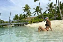 Woman snorkeling Royalty Free Stock Photos