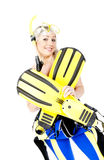 Woman with snorkeling equipment Royalty Free Stock Photos