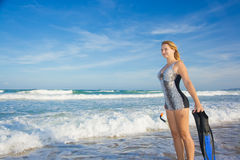 Woman with snorkeling equipment Royalty Free Stock Photo