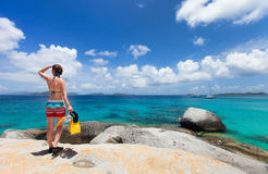 Woman with snorkeling equipment at tropical beach Royalty Free Stock Photo