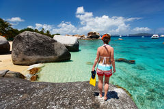 Woman with snorkeling equipment at tropical beach Royalty Free Stock Images