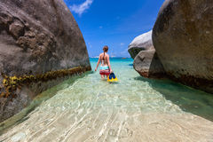 Woman with snorkeling equipment at tropical beach Stock Images