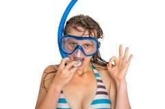 Woman with snorkeling mask for diving isolated on white Stock Photo
