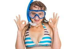 Woman with snorkeling mask for diving isolated on white Royalty Free Stock Photos