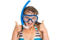 Woman with snorkeling mask for diving isolated on white Stock Images