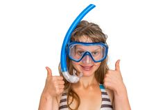 Woman with snorkeling mask for diving isolated on white Stock Photography