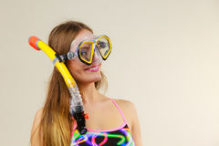 Woman with snorkeling mask having fun Royalty Free Stock Photography
