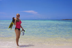 Woman Snorkeling in the Ocean Royalty Free Stock Photo