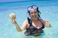 Woman Snorkeling in the Ocean Royalty Free Stock Photography