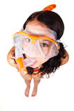 Woman in snorkeling outfit. Young woman ready to go snorkeling isolated on white background Stock Photos
