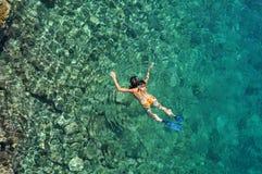 Woman snorkeling at Phi Phi Island, Phuket, Thailand Royalty Free Stock Images