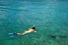 Woman snorkeling at Phi Phi Island, Phuket, Thailand Stock Photos