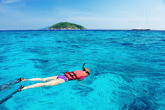 Woman Snorkeling in south of Thailand Royalty Free Stock Photo