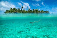 Woman snorkeling in a tropical lagoon Royalty Free Stock Photography