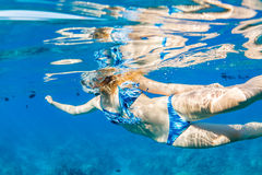Woman Snorkeling in Tropical Ocean Stock Image