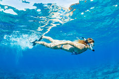 Woman Snorkeling in Tropical Ocean Royalty Free Stock Photos