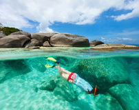 Woman snorkeling in tropical water Stock Photography