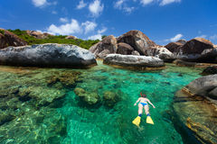 Woman snorkeling at tropical water Royalty Free Stock Photography