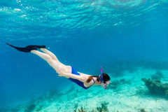 Woman snorkeling Stock Photos