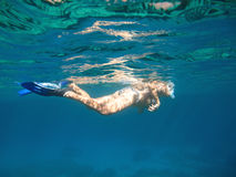 Woman snorkelling Stock Image