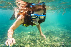Woman snorkelling over floor of tropical sea Stock Images